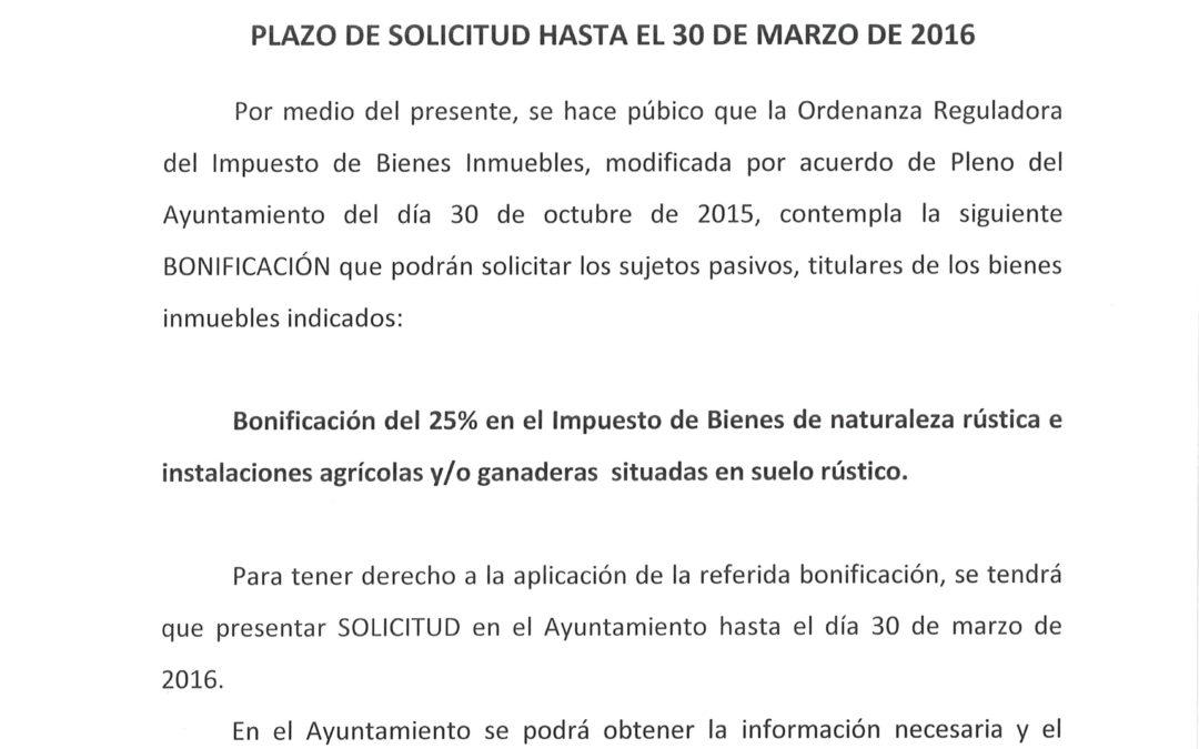 BONIFICACIÓN DEL IMPUESTO DE BIENES INMUEBLES PARA 2016 1