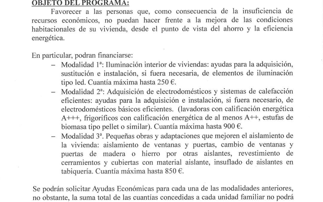 PROGRAMA DE INTERVENCIÓN FAMILIAR EN SITUACIONES DE POBREZA ENERGÉTICA: MICRORREFORMAS ENERGÉTICAS DE VIVIENDAS 2016 1