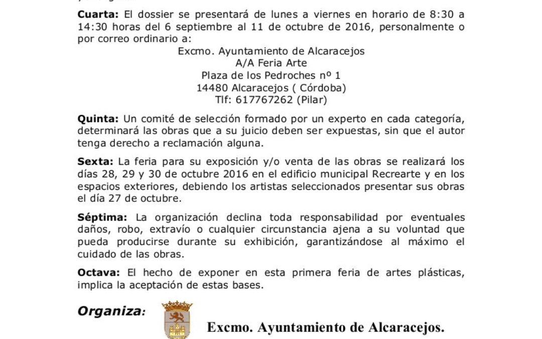 Nueva fecha y bases modificadas. BASES DE PARTICIPACIÓN EN LA 1ª FERIA DE ARTES PLÁSTICAS «MIGUEL L. NAVARRETE»