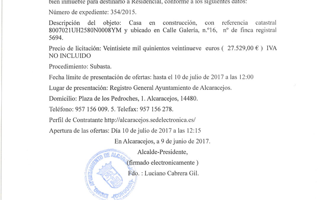 ANUNCIO- SUBASTA VIVIENDA C/ GALERIA, 16 1