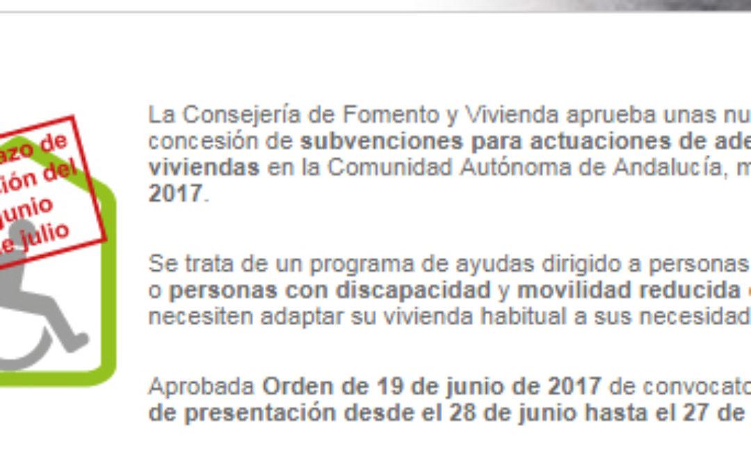 CONVOCATORIA DE SUBVENCIONES PARA ADECUACIÓN FUNCIONAL DE VIVIENDAS