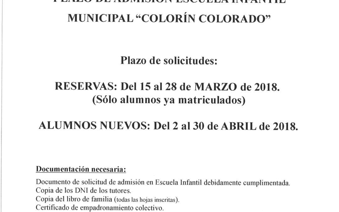 "CURSO 2018-2019 ADMISIÓN ESCUELA INFANTIL MUNICIPAL ""COLORIN COLORADO"" 1"