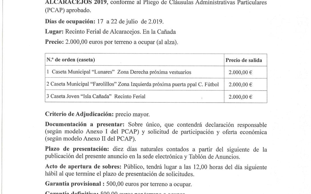 CONVOCADO PROCEDIMIENTO ADJUDICACION CASETAS DE FERIA 2019 1