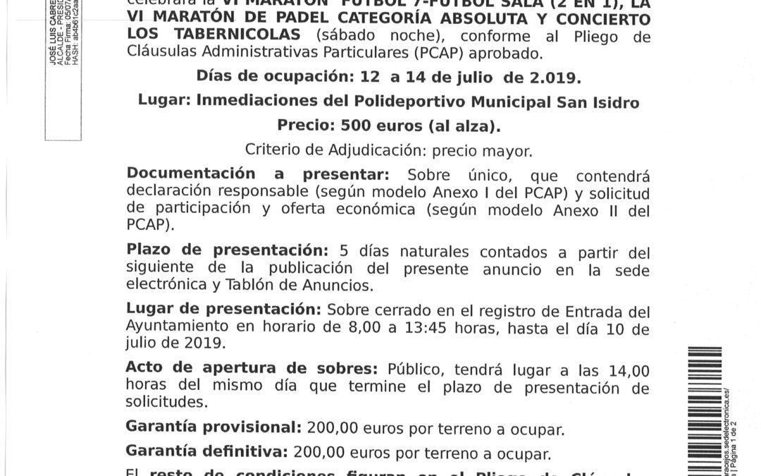 CONVOCADO PROCEDIMIENTO ADJUDICACION BARRA CASETA INMEDIACIONES POLIDEPORTIVO 1