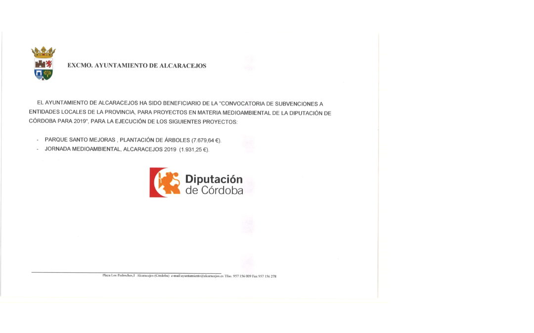 CONVOCATORIA DE SUBVENCIONES A ENTIDADES LOCALES DE LA PROVINCIA PARA PROYECTOS EN MATERIA MEDIOAMBIENTAL 1