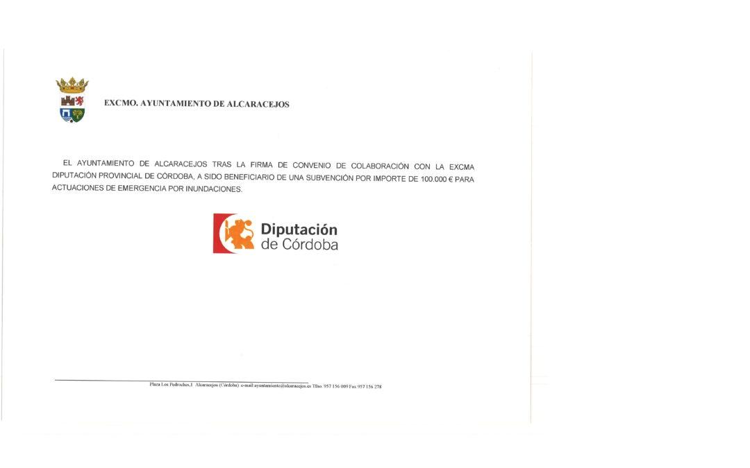 CONVENIO DE COLABORACION CON DIPUTACION. ACTUACIONES DE EMERGENCIA POR INUNDACIONES 1