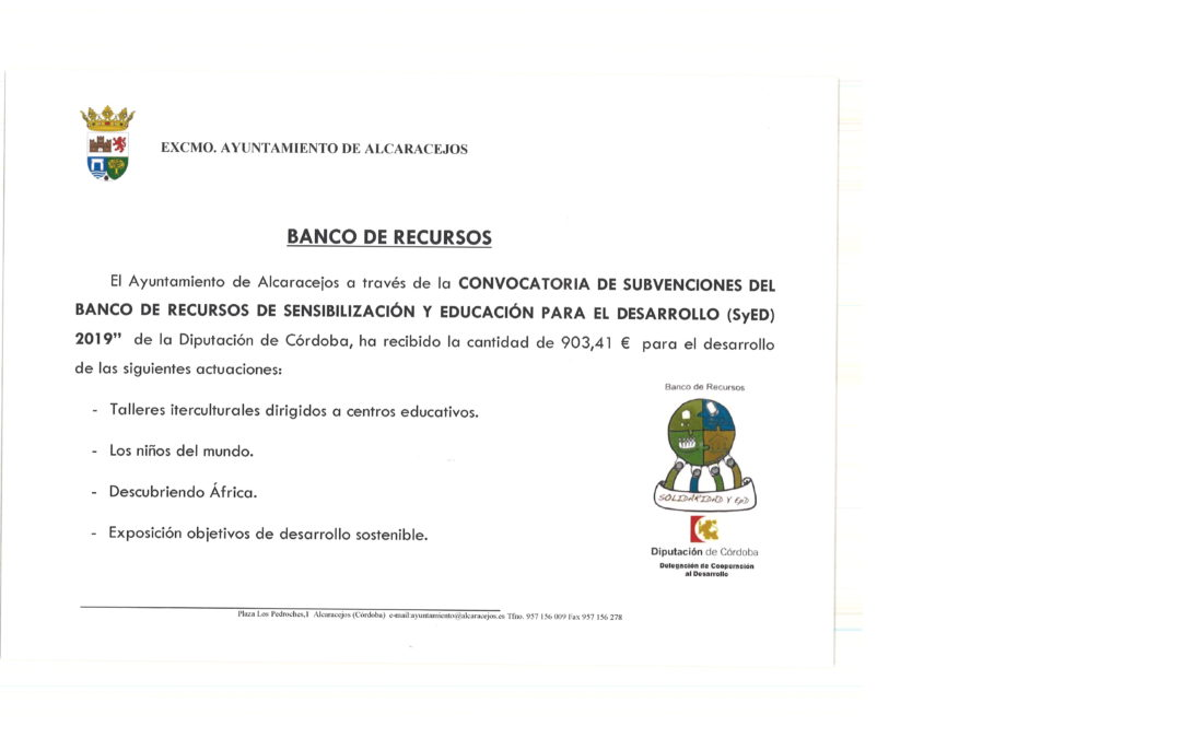 SUBVENCIÓN DEL BANCO DE RESURSOS DE SyED 2019 1