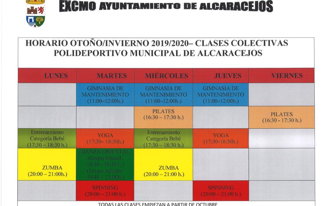 HORARIO CLASES COLECTIVAS (GIMNASIA, PILATES, YOGA, ZUMBA, SPINING,...) 1