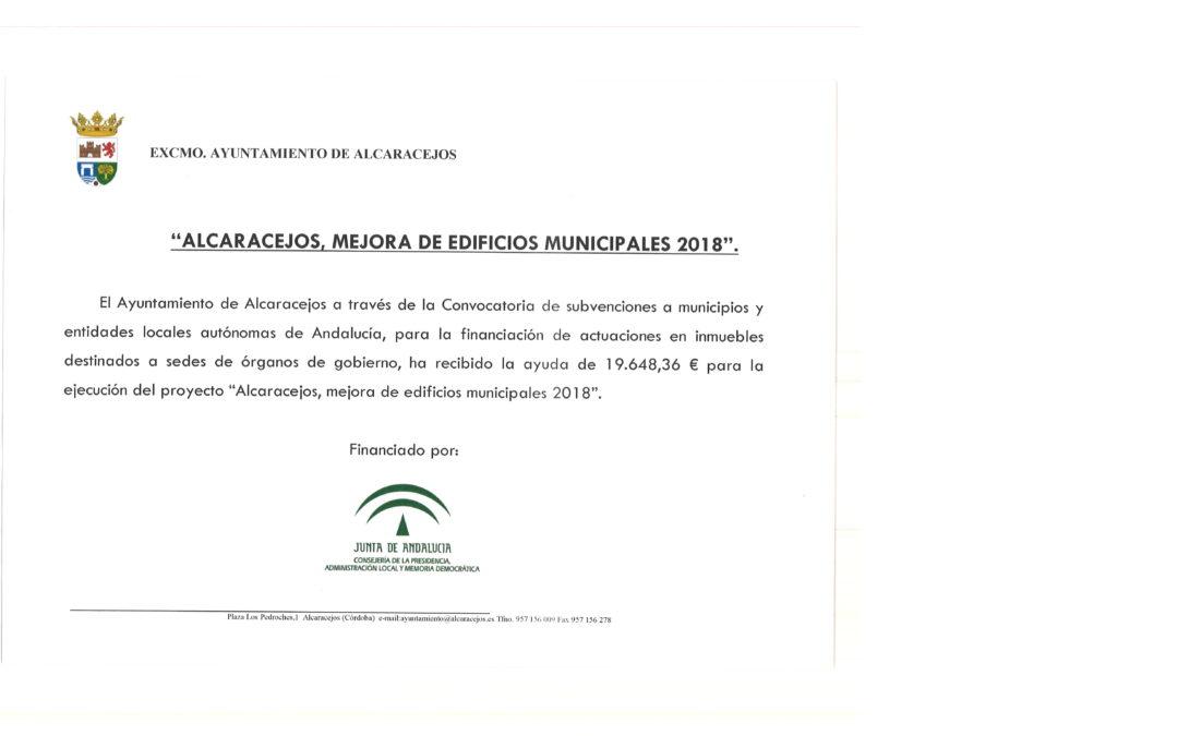 SUBVENCIÓN MEJORA DE EDIFICIOS MUNICIPALES 2018 1