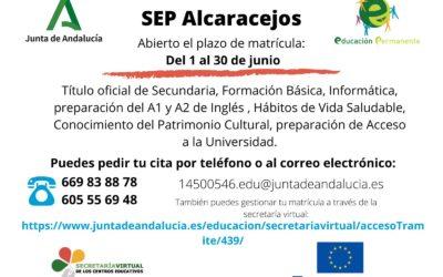 Abierto el Plazo de Matriculación en el SEP Alcaracejos